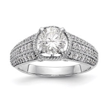 14K WHITE GOLD - TRIPLE ROW DIAMOND ENGAGEMENT RING SETTING