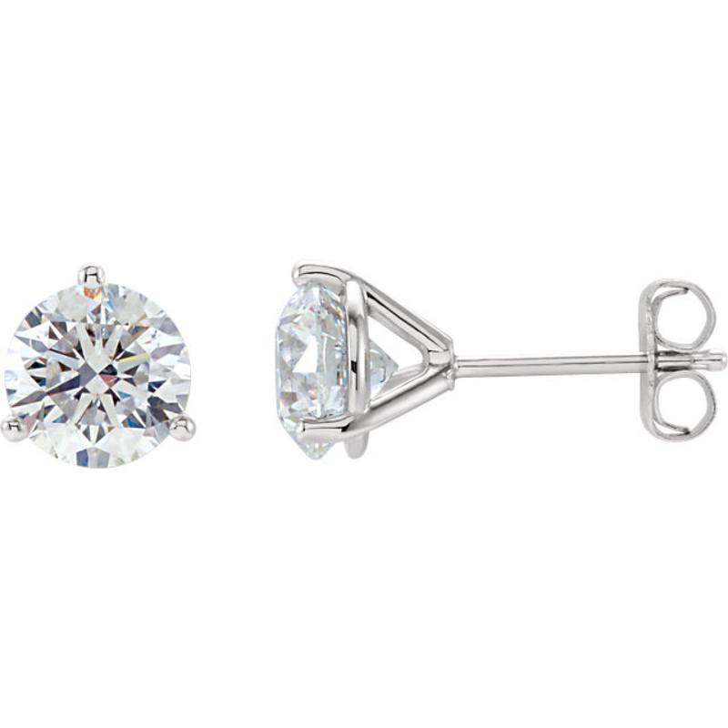 96758f054 14K WG, 1.00CT TOTAL ROUND BRILLIANT CUT DIAMOND STUDS, MARTINI 3 ...