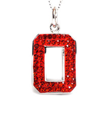 STERLING SILVER SWAROVSKI CRYSTAL PENDANT & CHAIN (ALL RED)