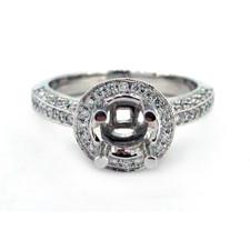 14K WHITE GOLD - ROUND HALO + HIDDEN HALO DIAMOND ENGAGEMENT RING SETTING