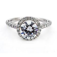 14K WHITE GOLD - FILIGREE STYLE ROUND HALO DIAMOND ENGAGEMENT RING SETTING