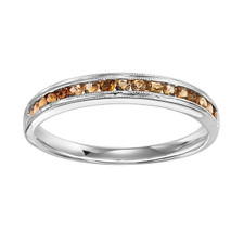 10K WHITE GOLD - CHANNEL SET MILGRAIN EDGE CITRINE STACKABLE BAND