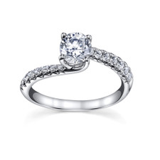 14K WHITE GOLD - OFFSET BYPASS STYLE DIAMOND ENGAGEMENT SETTING (0.26CT)