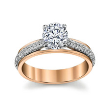 14K - TWO TONED CATHEDRAL STYLE DIAMOND ENGAGEMENT RING SETTING  (0.20ct)