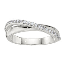 14K WHITE GOLD -  DOUBLE CROSS BYPASS STYLE FASHION RING (0.25CT)