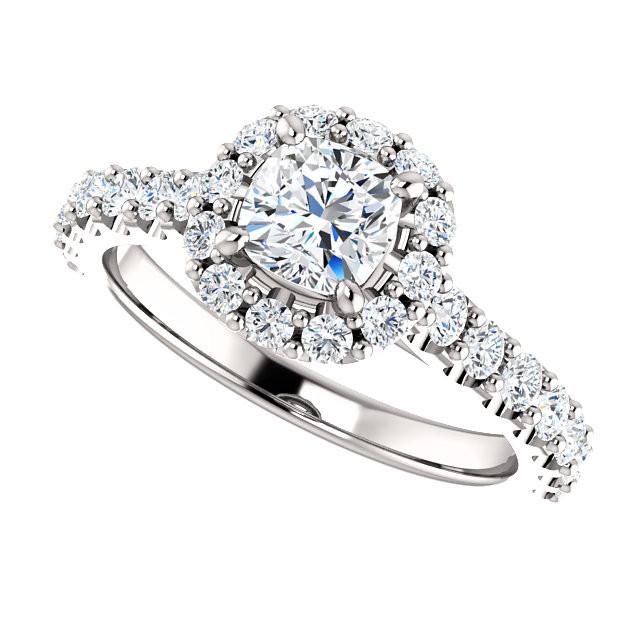 14k White Gold Cushion Cut Diamond Halo Engagement Ring 1 01ctw