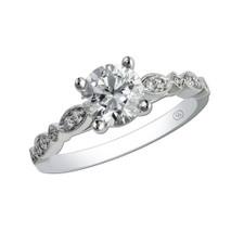 14K WHITE GOLD - VINTAGE SCALLOPED MILGRAIN DIAMOND ENGAGEMENT RING SETTING (0.10CT)