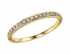 14K YELLOW GOLD - FLAT EDGED SCALLOPED DIAMOND STACKABLE BAND (0.12CT)