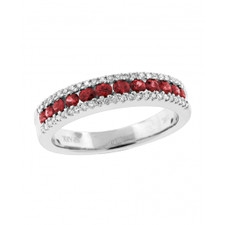 18K WHITE GOLD - RUBY AND DIAMOND CHANNEL SET STYLE FASHION BAND (0.60CT)