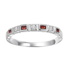 10K WHITE GOLD - BEZEL SET MILGRAIN EDGE RUBY & DIAMOND STACKABLE BAND