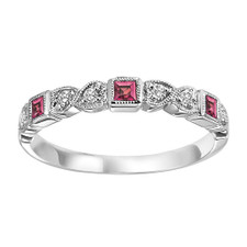 10K WHITE GOLD - BEZEL & HEART STYLE PINK SAPPHIRE & DIAMOND STACKABLE