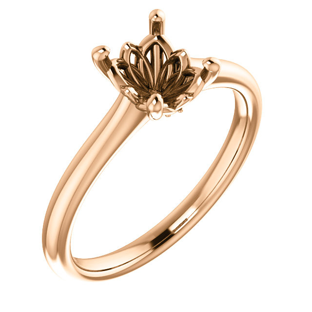 14k Rose Gold Vintage Scroll Style Cathedral Solitaire Engagement