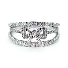 14K WHITE GOLD - SPLIT SHANK RIBBON STYLE DIAMOND ENGAGEMENT RING SETTING (0.89CT)
