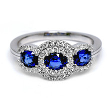 18K WHITE GOLD -  THREE STONE OVAL SAPPHIRE AND DIAMOND HALO FASHION BAND (1.05CT)