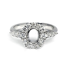 14K WHITE GOLD - OVAL SHAPED HALO  ENGAGEMENT RING SETTING (0.52CT)