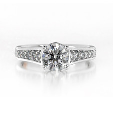14K WHITE GOLD -  TRELLIS STYLE CATHEDRAL DIAMOND ENGAGEMENT SETTING (0.33CT)