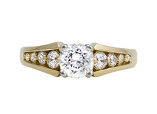 14K TAPERED CHANNEL SET YELLOW GOLD DIAMOND ENGAGEMENT RING SEMI MOUNT (0.33ct)