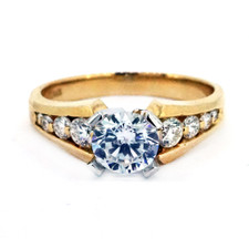 14K YELLOW GOLD - TAPERED CHANNEL SET  DIAMOND ENGAGEMENT RING SETTING (0.33ct)
