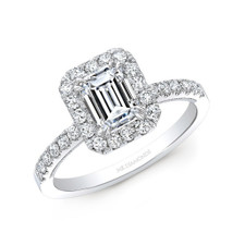 14K WHITE GOLD EMERALD CUT DIAMOND HALO ENGAGEMENT RING (1.21CTW)