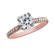 14K ROSE GOLD - PETITE FRENCH PAVE STYLE DIAMOND ENGAGEMENT SEMI MOUNT RING (0.26ct)