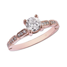 14K ROSE GOLD - VINTAGE SCALLOPED DIAMOND ENGAGEMENT SETTING (0.17CT)