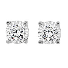 14K WHITE GOLD - 0.50CTW TRUE REFLECTIONS DIAMOND STUD EARRINGS - HALF CARAT