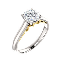 14K TWO TONED - VINTAGE SOLITAIRE DIAMOND ENGAGEMENT RING SETTING