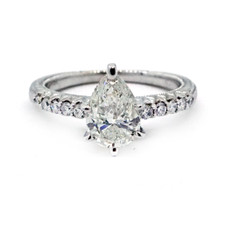 14K VINTAGE STYLED PEAR SHAPED DIAMOND ENGAGEMENT RING (1.29ct)