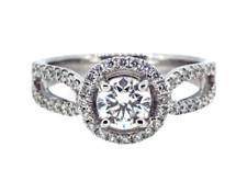 18K WHITE GOLD - SPLIT SHANK ROUND DIAMOND HALO ENGAGEMENT RING (0.74CT)