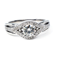 14K WHITE GOLD - VINTAGE BYPASS STYLE ROUND DIAMOND ENGAGEMENT RING (0.45CT)