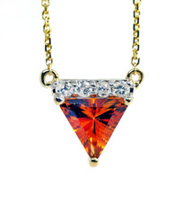 14K YELLOW GOLD - TRILLION CUT CITRINE & DIAMOND NECKLACE