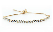 14K  YELLOW GOLD - 1.00CT TOTAL WEIGHT DIAMOND LINE BOLO STYLE BRACELET
