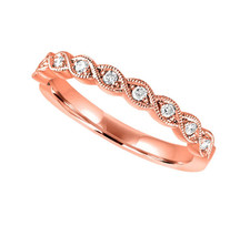 14K ROSE GOLD - SCALLOPED MILGRAIN STYLE DIAMOND STACKABLE BAND (0.12CT)