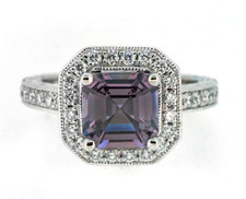 14K WHITE GOLD - ASSCHER CUT VIOLET SPINEL DIAMOND HALO FASHION RING (1.62CT)