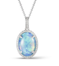 14K WHITE GOLD -  OVAL CUT OPAL & DIAMOND HALO FASHION PENDANT WITH CHAIN (0.13CT)