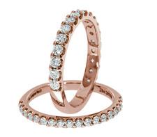 14K ROSE GOLD - PETITE SHARED PRONG DIAMOND WEDDING BAND (0.25CT)