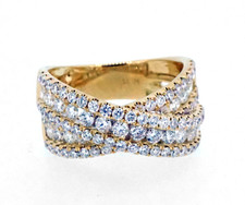 14K YELLOW GOLD - CROSS OVER STYLE DIAMOND FASHION BAND (1.76CT)