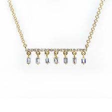 14K YELLOW GOLD - DANGLING BAGUETTE DROPS BAR STYLE DIAMOND NECKLACE