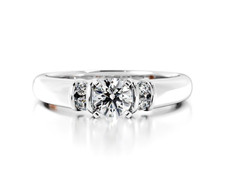 14K WHITE GOLD - DIAMOND ACCENTED SOLITAIRE ENGAGEMENT SEMI MOUNT RING (0.10CT)