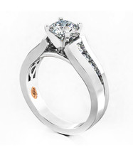 14K WHITE GOLD - FLAT TAPERED CHANNEL SET DIAMOND ENGAGEMENT SEMI MOUNT RING (0.30CT)