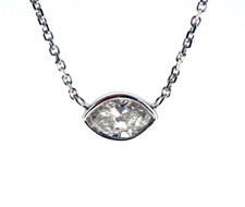 14K WHITE GOLD - HORIZONTAL BEZEL SET MARQUISE DIAMOND NECKLACE (0.50CT)