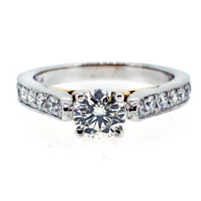 14K -TWO TONE VINTAGE CATHEDRAL STYLE ROUND DIAMOND ENGAGEMENT RING (0.63CT)