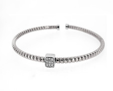 18K WHITE GOLD - TWISTED STYLE FLEXIBLE DIAMOND BANGLE BRACELET (0.08CT)