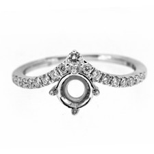 14K WHITE GOLD - CHEVRON STYLE DIAMOND ENGAGEMENT RING SETTING (0.40CT)