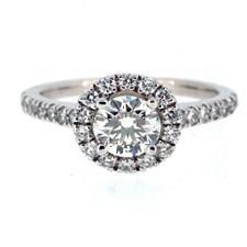 14K WHITE GOLD  - PETITE STYLE ROUND HALO DIAMOND ENGAGEMENT RING  (1.16CT)