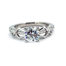 14K WHITE GOLD  - INTERLOCKING DIAMOND ENGAGEMENT RING SETTING (0.20CT)