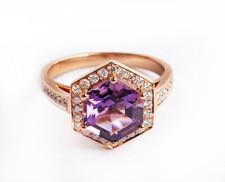 18K ROSE GOLD  - HEXAGON CUT AMETHYST & DIAMOND HALO FASHION RING (0.24ct)