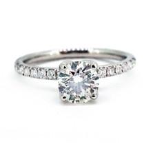 14K WHITE GOLD - PETITE SHARED PRONG TULIP HEAD DIAMOND ENGAGEMENT RING  (0.77ct)