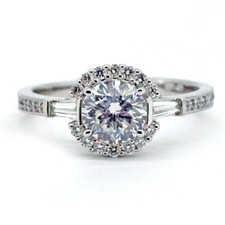 14K WHITE GOLD - BAGUETTE & HALO STYLE ROUND DIAMOND ENGAGEMENT RING SETTING (0.33ct)