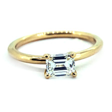 14K YELLOW GOLD - PETITE SIMPLE SOLITAIRE EMERALD CUT DIAMOND ENGAGEMENT RING (0.60ct)